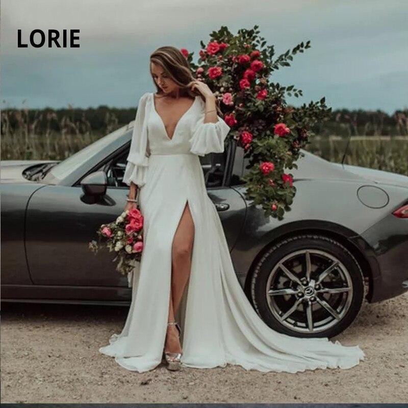 LORIE Beach Wedding Dress Boho Soft Chiffon Princess Bride Gown With Split Sexy V Neck Backless Long Sleeve Vintage Robe Mariage