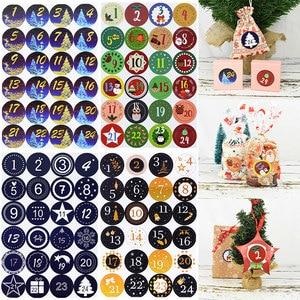 1Pcs 4.5cm Merry Christmas Advent Calendar Number Paper Stickers DIY Scrapbooking Round Christmas Gift Sticker Labels Xmas Decor