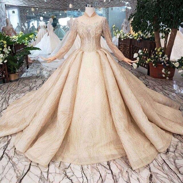 BGW HT5625 فساتين زفاف طويلة الأكمام الشمبانيا عالية الرقبة مطرز فساتين زفاف الكرة ثوب ثقب المفتاح الخلفي ثوب زفاف