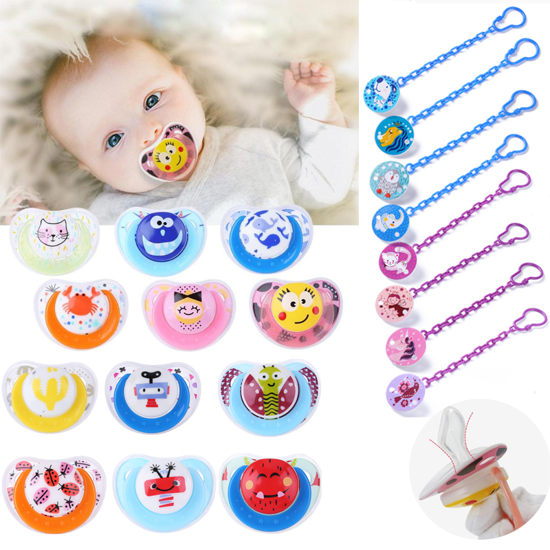 Newborn Baby Pacifier Safe Silicone Nipple Soother Anti-dust Lid Infant Teether Toddlers Cute Cartoon Pacifier For Kids Child
