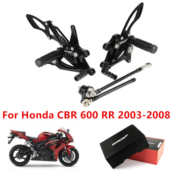 Motorcycle Footrests CNC Foot Rider Rear Set Peg Pedal For Honda CBR600RR 2003 2004 2005 2006 2007 2008 CBR 600 RR CBR600 RR new motorcycle rear seat cover cowl solo fairing for honda cbr 1000 rr 04 05 06 07 2004 2007 free shipping c20