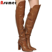 ASUMER 2020 big size 34-44 thigh high boots women European Style autumn winter slim long boots Brand high heel shoes ladies(China)
