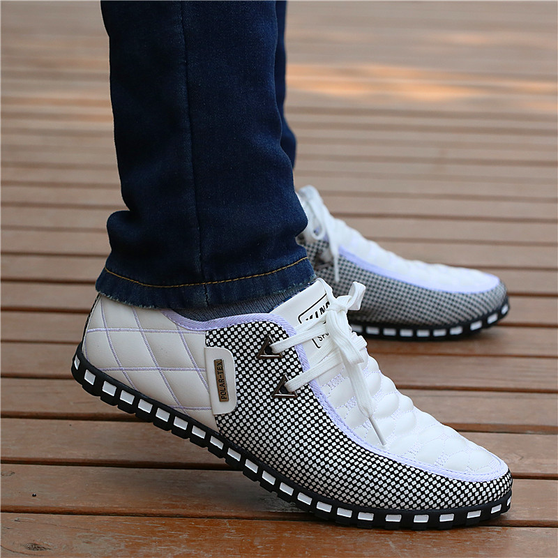 Men Leather Shoes Autumn Men's Casual Shoes Breathable Light Weight White Sneakers Driving Shoes Pointed Toe Business Men Shoes
