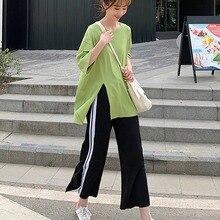 Women Sets Autumn Long Style Split T-shirt Side Striped Wide Leg Pants Suits Casual Female O-Neck Tops 2 PCS Set