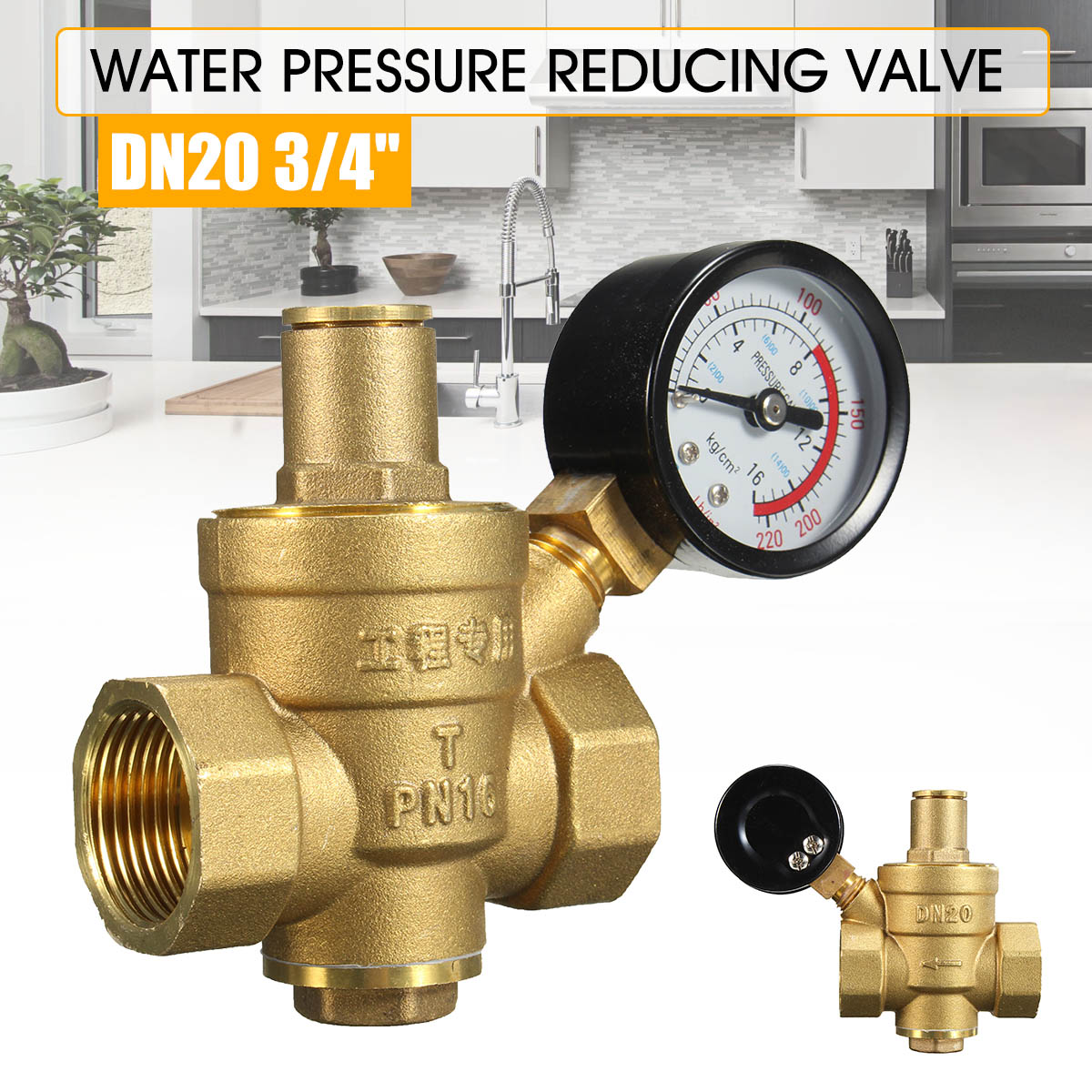 DN20 NPT 3/4'' Regulator Brass Water Pressure Regulator Reducer PN 1.6 Adjustable With Gauge Meter For Hydraulic/Water Purifier