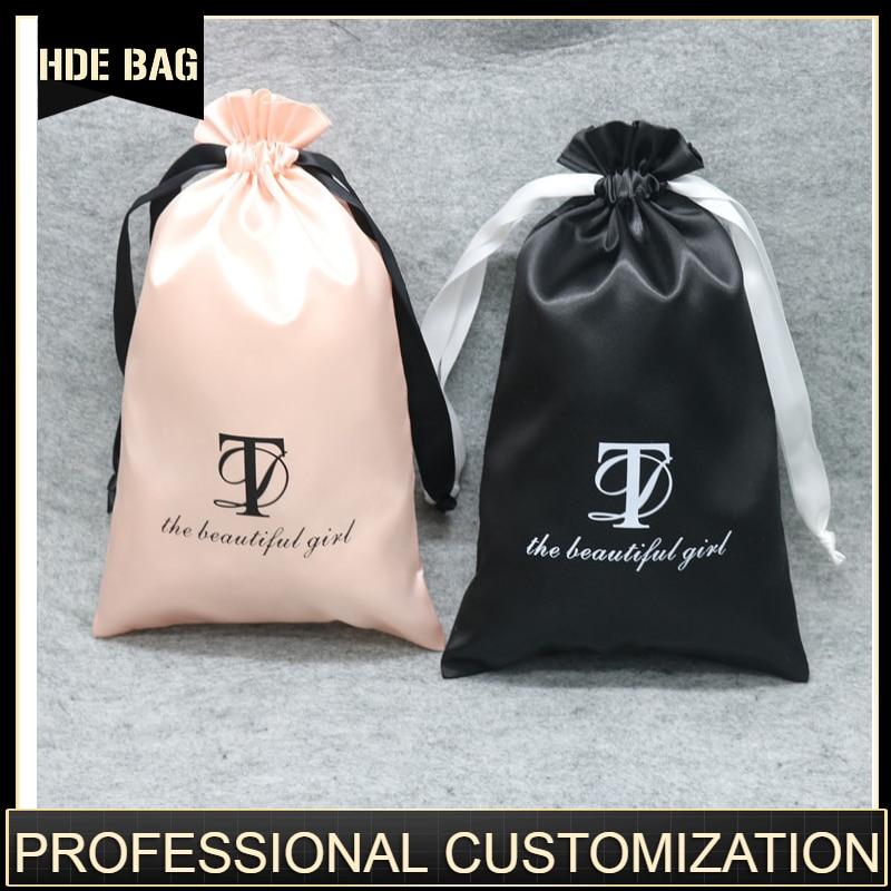 Satin Hair Extensions Packaging Bag Gift/Wedding/Shoes Storage Silk Drawstring Pouch Sachet Pocket Custom Szie Logo Print