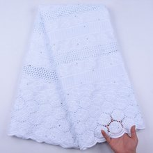 Wholesale Cotton African Lace Fabric Swiss Voile Pure White Lace Fabric 2020 Nigerian Lace Fabrics Dry Lace With Stones S1967