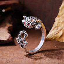 Authentic 925 Sterling Silver Adorable Cat CZ Adjustable Finger Rings for Women Sterling Silver Ring Jewelry(China)