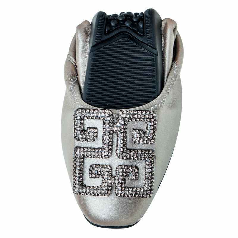 เกาหลีบัลเล่ต์แบนผู้หญิงรองเท้าส้นรองเท้าผู้หญิง Rhinestone ของแท้หนัง Ballerinas รองเท้าผู้หญิง