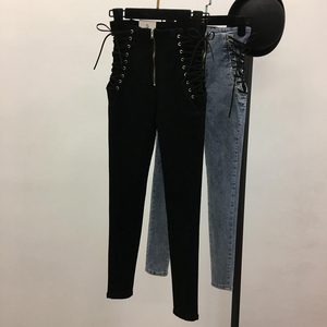 Image 2 - Jeans Women Lace up Skinny All match Zipper Simple Trendy Ankle Length Trousers Womens Spring Autumn Slim Female High Quality