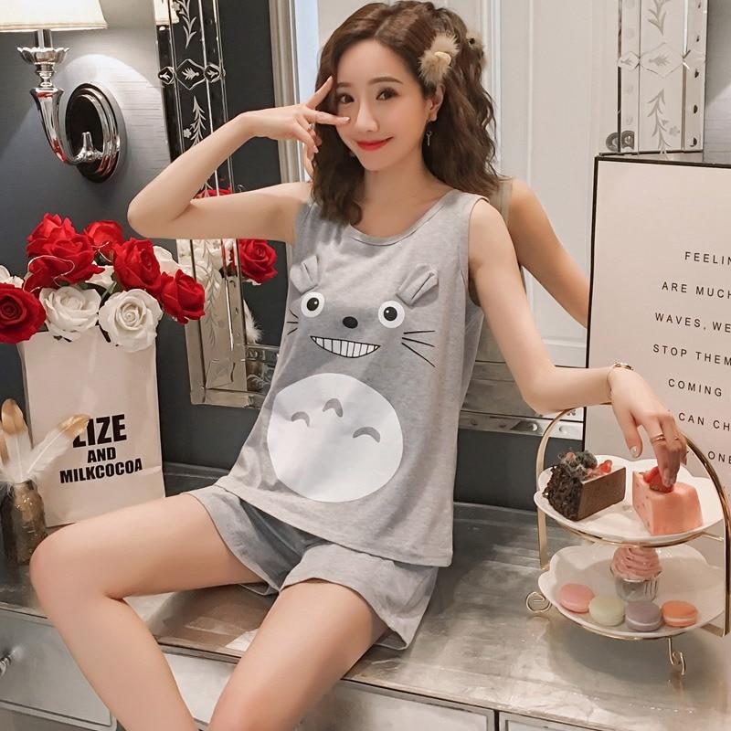 2020 Summer Cotton Sleeveless Vest Shorts Pajama Sets for Women Cute Cartoon Totoro Sleepwear Homewear Pijama Mujer Home Clothes