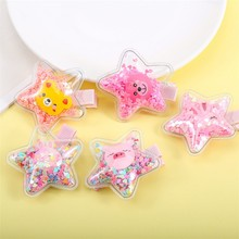 2Pcs/lot Star Hair Bows for Baby Girls Cartoon Bears Hairpin Sequins Transparent Waterproof Jelly Cute Kids Headwear