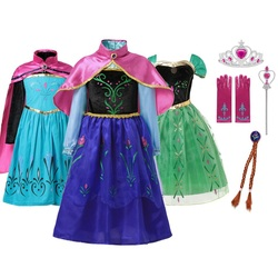 MUABABY Anna Elsa Dress Up Fancy Clothes for Girl Floral Birthday Party Gown Children Kids Snowflake Halloween Princess Costume