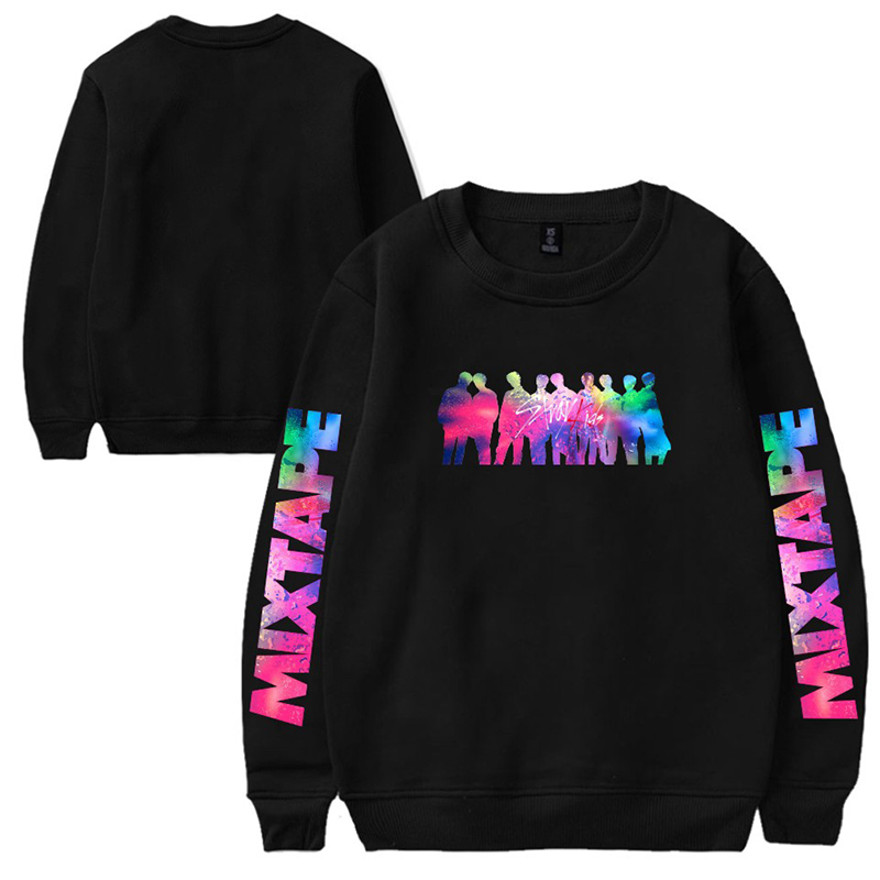 KPOP Stray Kids Album Mixtape Men And Women Plus Velvet Round Neck Sweater Youth Casual Loose Winter Dropshipping