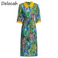 Delocah Summer Women Cool Thin Mulberry Silk Dress Half Sleeve Little Tiger Printed Elegant Female Office Pencil Midi Dresses