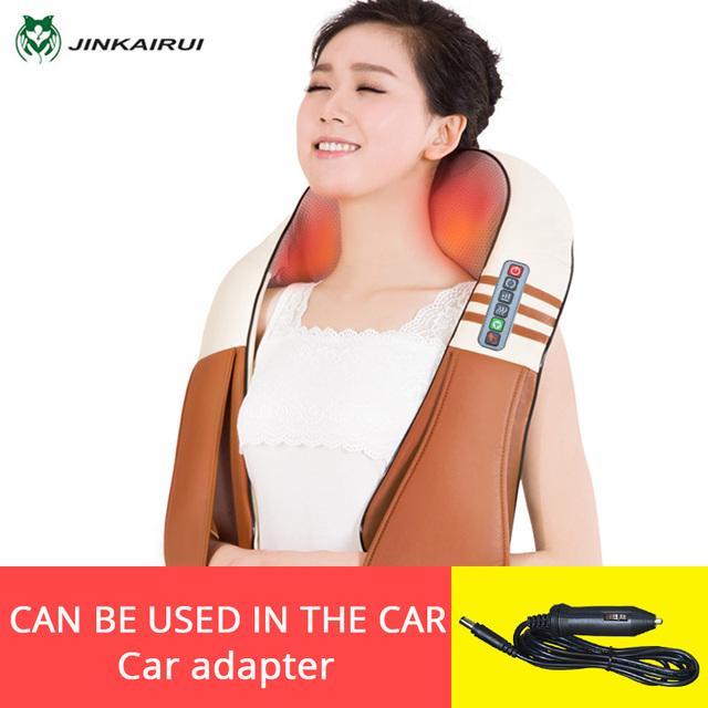JinKaiRui 16 Massage Heads Heating Neck Shoulder Kneading Massager Cervical Therapy Health Care Back Waist Pain ReliefRelaxation 1