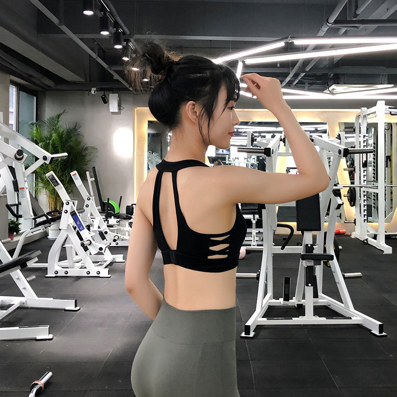 Underwear women running lady back openwork strap fitness gathered bra vests