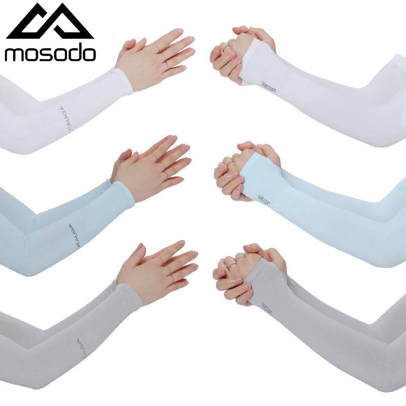 Mosodo 1 Pair Summer Anti Eltraviolet Ice Sleeve Driving Sunscreen Gloves Women Ice Silk Sleeve Men Arm Sleeve
