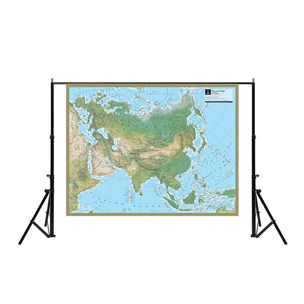150x100cm Physical Map Of Asia Non-woven Waterproof Asia Map Without National Flag For Culture And Education