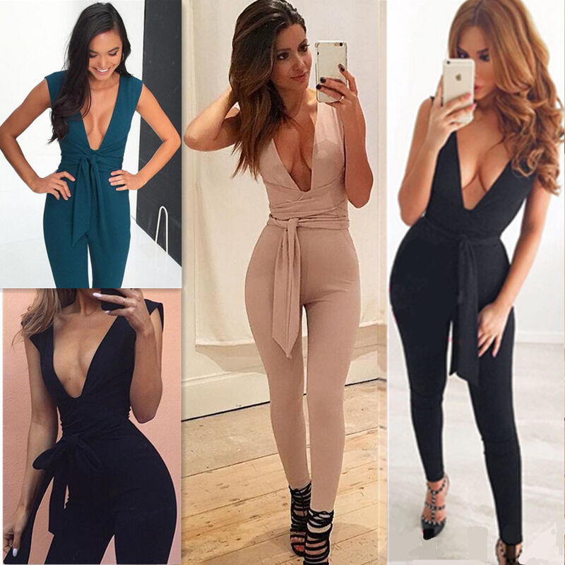 Womens Ladies Fashion Solid Color Sexy Deep V-Neck Sleeveless Party Clubwear Causal Jumpsuit Rompers Long Trousers Tracksuits