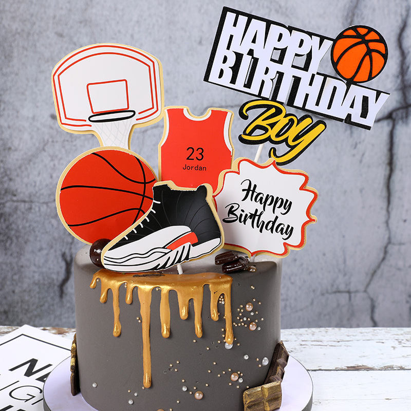 Cake Toppers Glitter DIY Basketball Football Set Cupcake Topper Cake Flags Kids Boys Birthday Wedding Bride Party Baking Decor-0