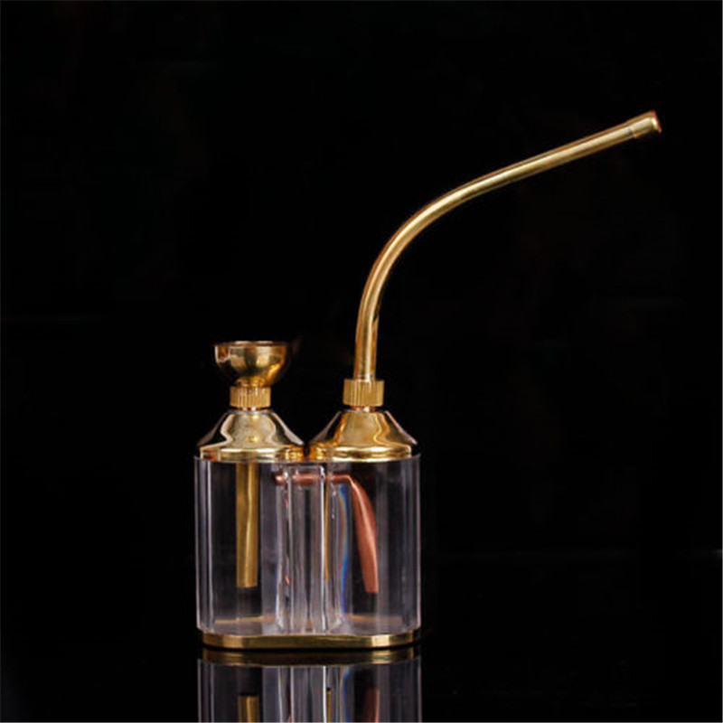 Textured Hookah Water Tobacco Smoking Pipe Bong With Double Filter Cigarette Holder Delicate and elegant Gold color 3
