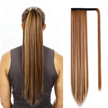 Wigs Blonde Clip Hair-Extension Ponytail Synthetic-Wrap Heat-Resistant LISIHAIR Straight