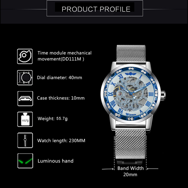 Gagnant officiel squelette mécanique montre hommes doré maille bracelet cristal glacé hommes montres Top marque luxe analogique montre-bracelet