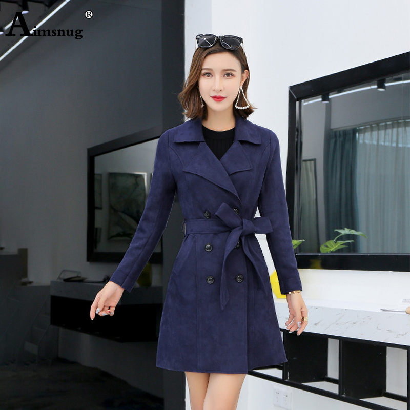 Aimsnug 2019 Autumn Women Double Breasted Long   Trench   Coat Navy With Belt Classic Casual Office Lady Outwear Casaco Feminino