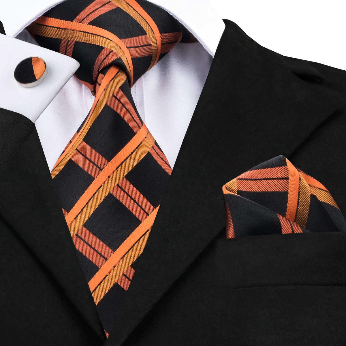 2017 Fashion Orange&white Stripe Tie+Hanky+Cufflinks 100%Silk Jacquard Neckties Ties For Men Formal Business Wedding Party C-262