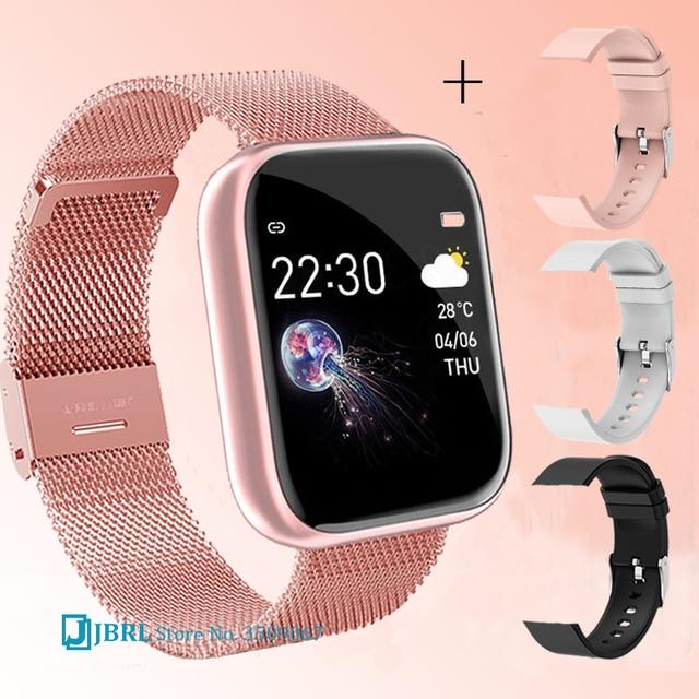 2021 Ladies Sport Bracelet Smart Watch Women Smartwatch Men Smartband Android IOS Waterproof Fitness Tracker Smart Clock Mens 1