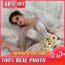 คุณภาพสูงแขนยาวเงาลูกปัดจีบลูกปัดแชมเปญ2021ชุดแต่งงาน