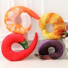 Coushin Cartoon Neck Protection Shrimp Pillow 4 Style Seat/Back Cushion Crystal Soft Velvet Round Food Printed PP Cotton
