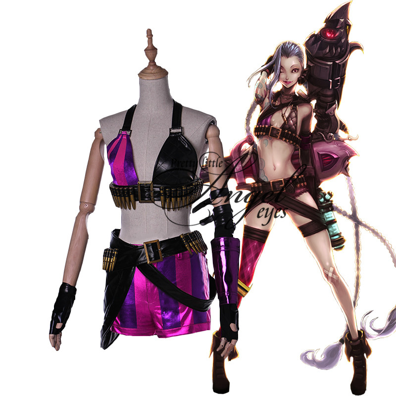 Hot Game LOL Loose Cannon Jinx Cosplay Costume Halloween Party Suit
