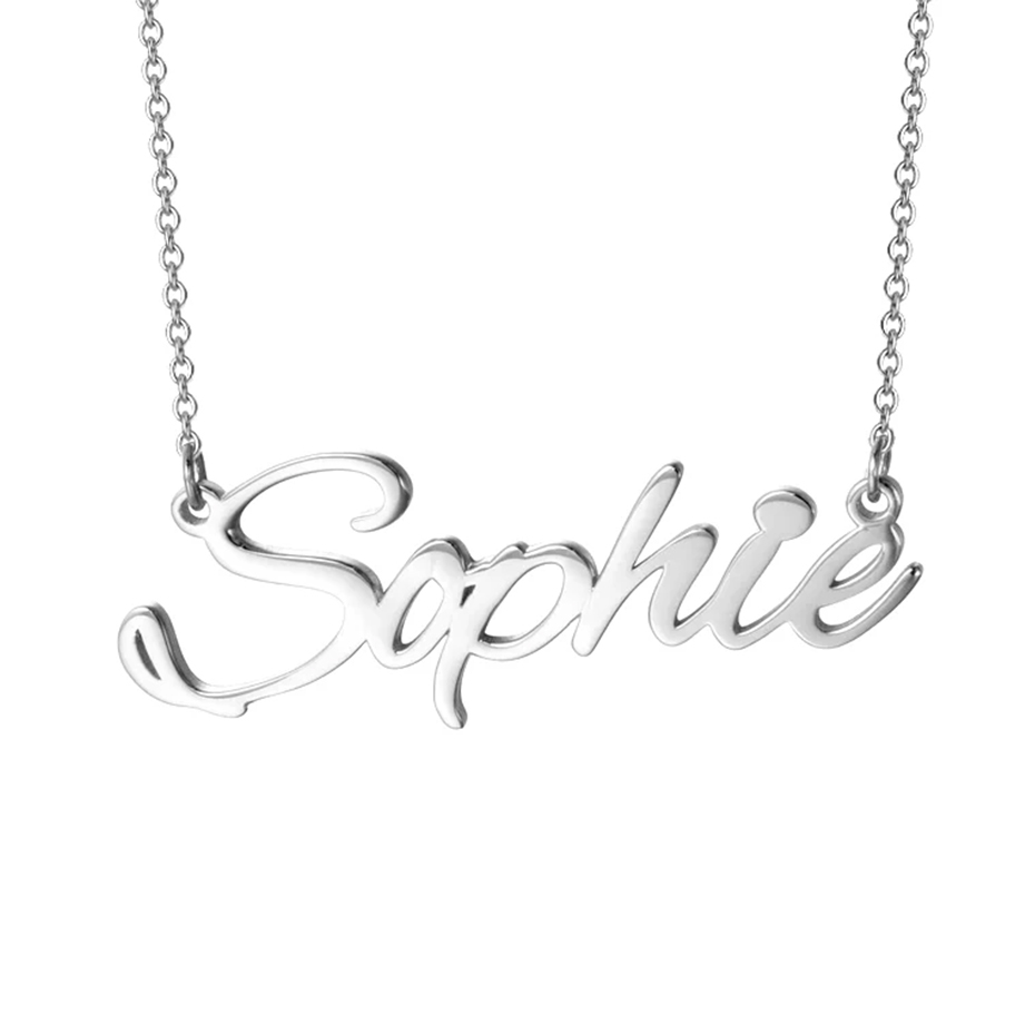 YFN Customize Name 925 Sterling Silver DIY Necklace Pendant Gold-color Personalize Letter Jewelry Chain Couple Name DIY Necklace