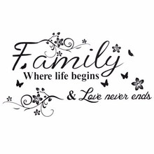 Wall Decals Family Where Life Begins Love Never Ends Vinyl Wall Sticker Art Home Living Room Bedroom(China)