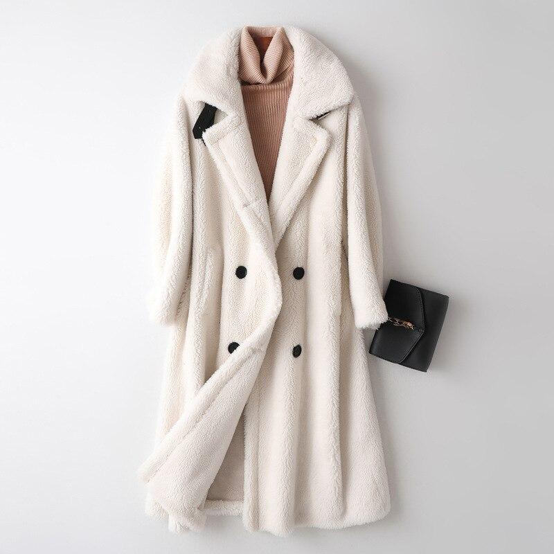 Newest Women's Maxi Long Teddy Jackets Fluffy Fur Coats Feminine Loose Plus Size Wool Outerwear Double Breasted Fur Overcoats