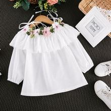 Г. Новая Осенняя Стильная белая рубашка с длинными рукавами и цветочной вышивкой в Корейском стиле для девочек Рубашка lu jian qun на шнуровке 38737