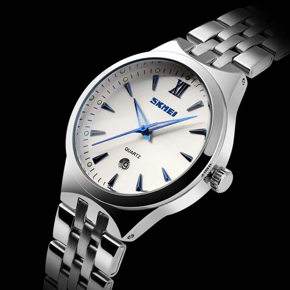 SKMEI 9071 Men Women Couple Fashion Luminous Date Stainless Steel Strap Quartz Wrist Watch