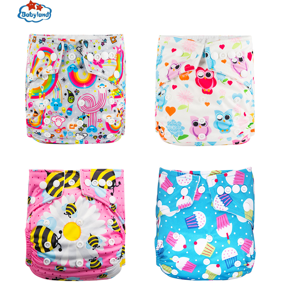 My Choice New Prints 4pcs/Pack Babyland Washable Eco-Friendly Baby Diaper Pocket Nappy Reusable Cloth Diapers 3-15kg Baby Kids