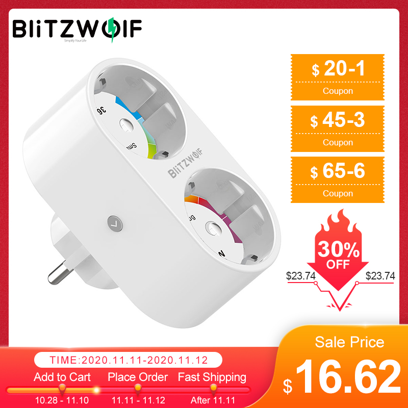 BlitzWolf BW-SHP7 3680W 16A Dual Outlet EU Plug Smart WIFI Socket APP Remote Control Work With Google Assistant   Amazon Alexa