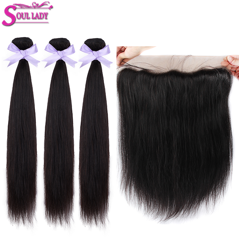Soul Lady Hair With Frontal Malaysian Straight Hair Bundles With Frontal Remy Human Hair Transparent Lace Frontal With Bundles