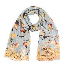 Модный роскошный женский шарф женский с принтом птицы шифоновый шаль на голову мягкий длинный шарф foulard femme