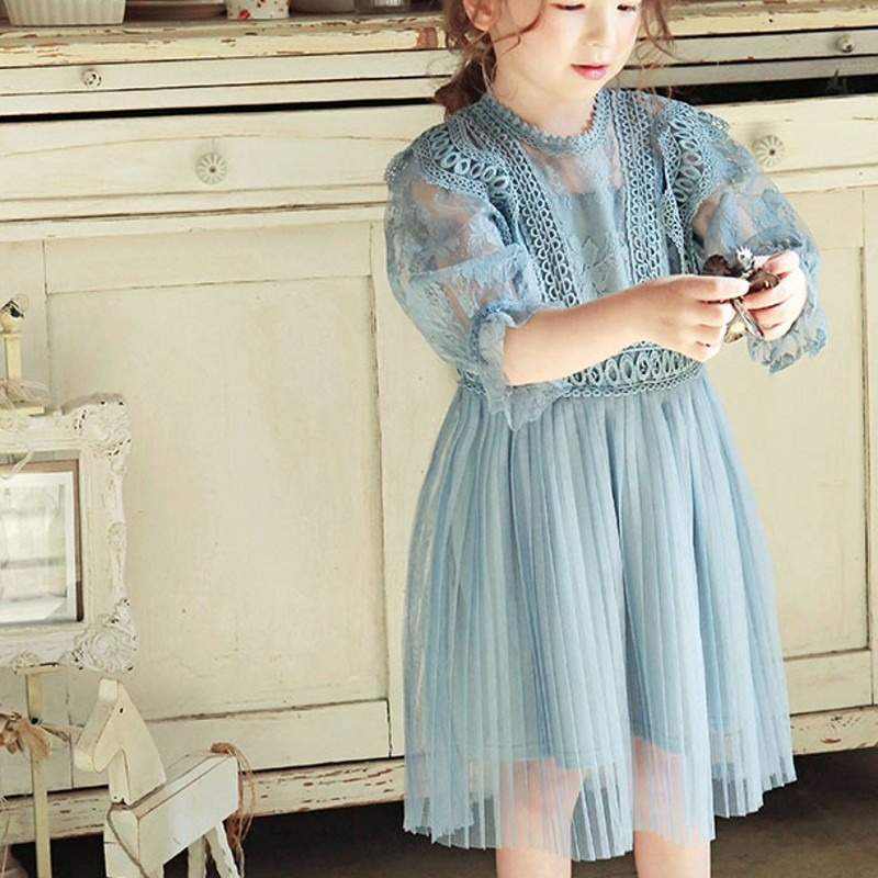 High Quality Girls Princess Kids Dresses For Girls Tutu Lace Flower Embroidered Baby Girls Dresses Wedding Party Dress CL341