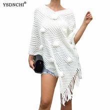 Вязаные накидки ysdnchi модные женские белые зимние топы с бахромой