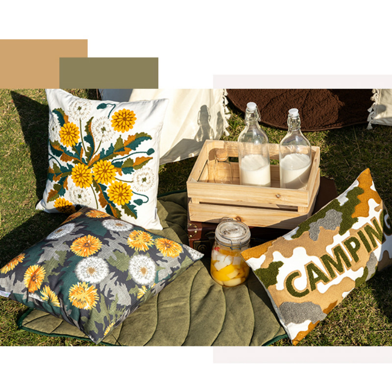 Dandelion Embroidery Cushion Cover Pillow Case