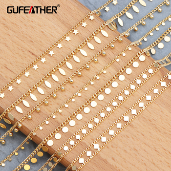 GUFEATHER C55,18k gold plated chain,0.3 microns,jewelry accessories,chain,hand made,jewelry findings,diy earrings,1m/lot - sale item Jewelry Making