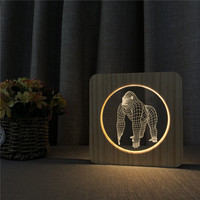 Gorilla Animal 3D Wooden LED Lamp Table Light Switch Control Carving Lamp for Bedroom Decoration Light