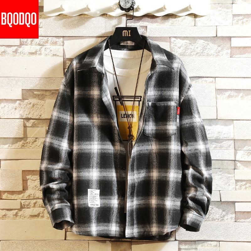 Preppy Style Black Plaid Cotton Autumn Casual Shirt Men Streetwear Hip Hop Long Sleeve Men's Shirts Oversized Winter Cargo Tops