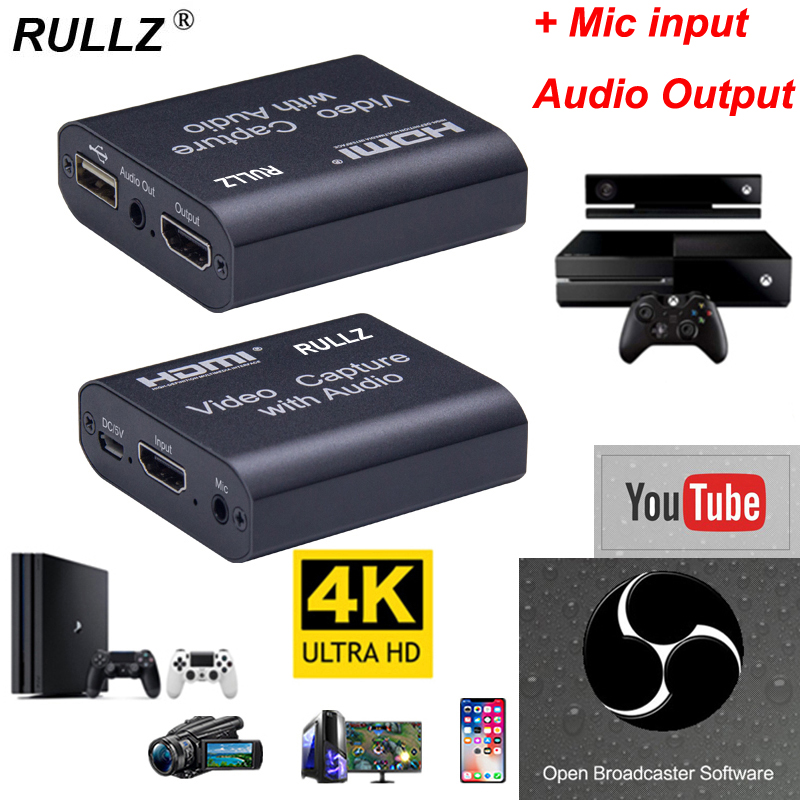 4K HDMI Video Capture Card W/ 3.5mm Audio Output Mic Input Game Recording Box Support USB2.0 USB 3.0 PC Live Streaming Broadcast